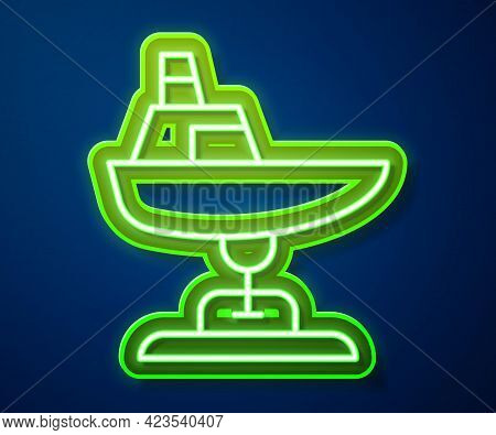 Glowing Neon Line Swing Boat On The Playground Icon Isolated On Blue Background. Childrens Carousel