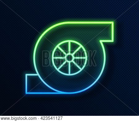 Glowing Neon Line Automotive Turbocharger Icon Isolated On Blue Background. Vehicle Performance Turb