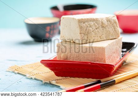 Fresh Soy Curd (tofu) In A Ceramic Bowl As Alternative Meat Protein. Concept Eat Less Meat, Plant-ba