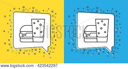Set Line Burger Icon Isolated On Yellow And Blue Background. Hamburger Icon. Cheeseburger Sandwich S