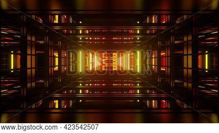 3d Illustration Of Futuristic Geometric Corridor With Bright Neon Lights