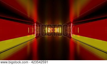 3d Illustration Of Geometric Tunnel With Red And Yellow Lights