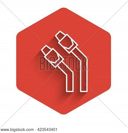 White Line Lan Cable Network Internet Icon Isolated With Long Shadow Background. Red Hexagon Button.