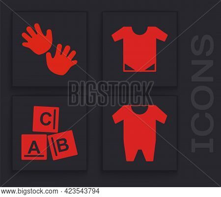 Set Baby Clothes, Baby Hands Print, Baby Onesie And Abc Blocks Icon. Vector