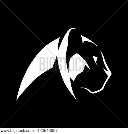 Black Panther Side View Portrait White Symbol On Black Backdrop. Design Element