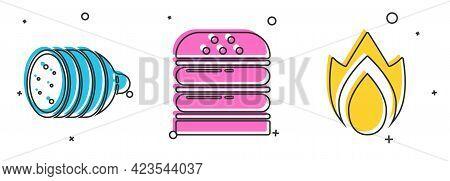 Set Salami Sausage, Burger And Fire Flame Icon. Vector