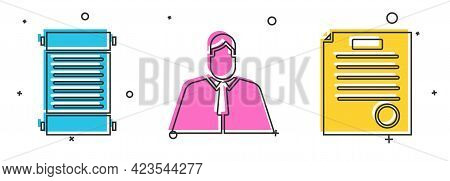 Set Decree, Paper, Parchment, Scroll, Lawyer, Attorney, Jurist And The Arrest Warrant Icon. Vector
