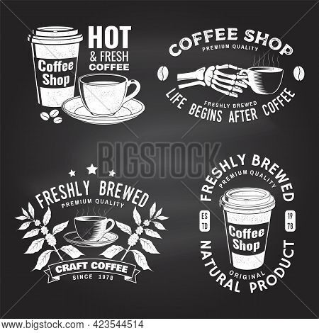 Set Of Coffe Shop Logo, Badge Template On The Chalkboard. Vector Typography Design With Paper Coffee