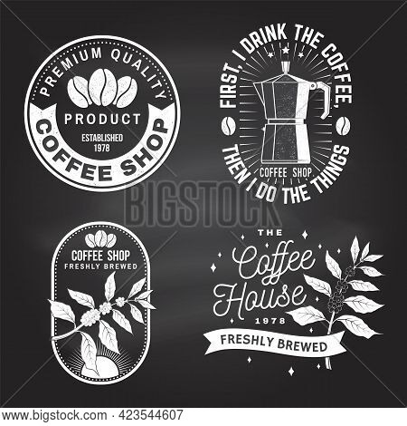 Set Of Coffe Shop Logo, Badge Template On The Chalkboard. Vector. Typography Design With Coffee Make