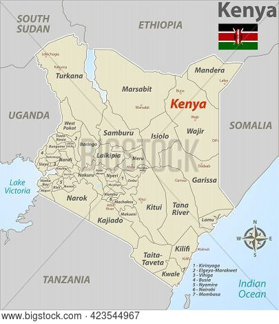 Vector Map Of Kenya With Counties, Cities And Neighbouring Countries