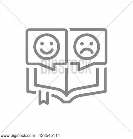 Open Book With Different Emotions Line Icon. Positive And Negative Emoji, Reader Review Symbol