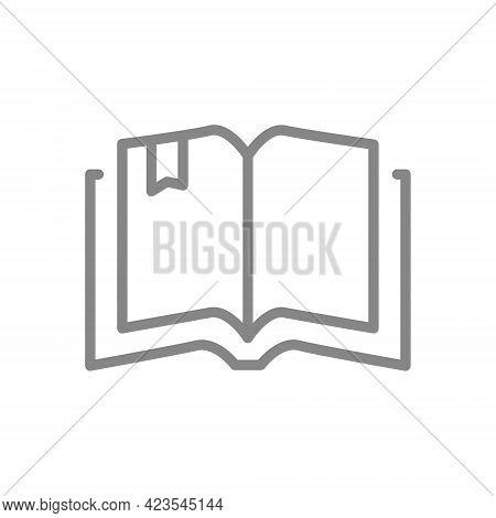 Open Book Line Icon. Online Library, E-book, Encyclopedia Symbol
