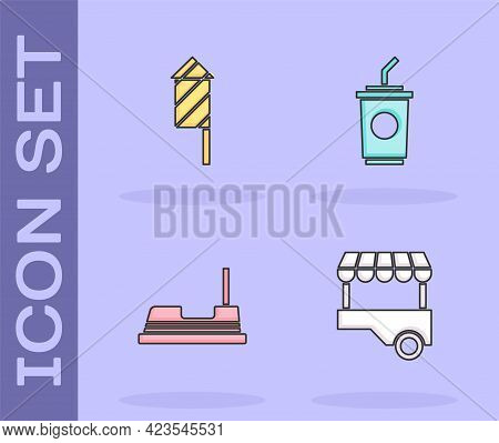 Set Fast Street Food Cart, Firework Rocket, Bumper And Paper Glass With Water Icon. Vector