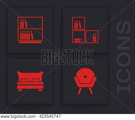 Set Armchair, Library Bookshelf, Shelf With And Big Bed Icon. Vector