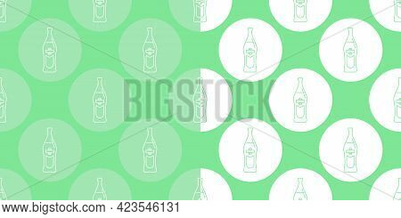 Two View Seamless Pattern Of Bottle Of Vermouth In Flat Style In Form Of Thin Lines. In The Form Of