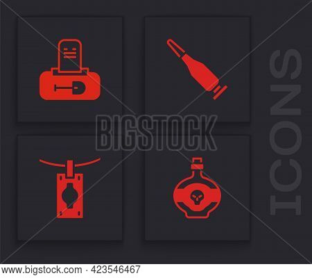 Set Poison In Bottle, Grave With Tombstone, Bullet And Money Laundering Icon. Vector