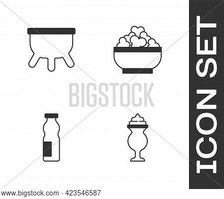 Set Milkshake, Udder, Drinking Yogurt In Bottle And Cottage Cheese Icon. Vector