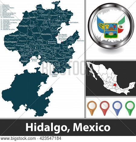 State Of Hidalgo With Municipalities And Location On Mexican Map. Vector Image