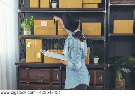 Woman Checking Stock Goods Supply Delivery Package Shipping Use Document Checklist. Asian Woman Star