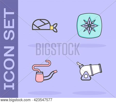 Set Cannon, Pirate Bandana For Head, Smoking Pipe And Wind Rose Icon. Vector