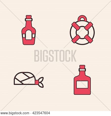 Set Alcohol Drink Rum, , Lifebuoy And Pirate Bandana For Head Icon. Vector