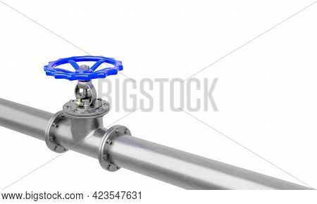 3d Render Blue Valve On Steel Pipe Diagonal View Isolated On A White Background.illustration Of A Di