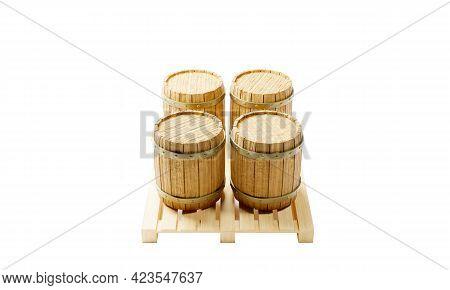 3d Render Of Vintage Wooden Wine And Beer Barrels Standing On A Pallet.