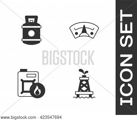 Set Oil Rig, Propane Gas Tank, Canister For Motor Oil And Motor Gauge Icon. Vector
