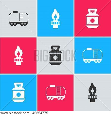 Set Oil Railway Cistern, Rig With Fire And Propane Gas Tank Icon. Vector