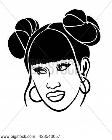 Two Cool Space Double Buns Hairstyle On The Sides. Pucca Hair.black African American Girl Woman Vect