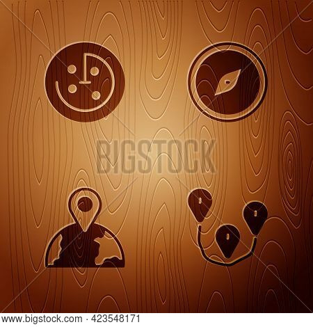 Set Route Location, Radar With Targets Monitor, Location The Globe And Compass On Wooden Background.