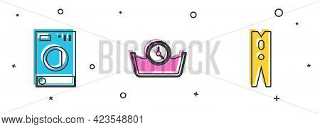 Set Washer, Time Wash And Clothes Pin Icon. Vector