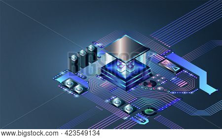Electronic Cpu Digital Chip. Abstract Computer Hardware Or Electronic Components On Motherboard. Tec