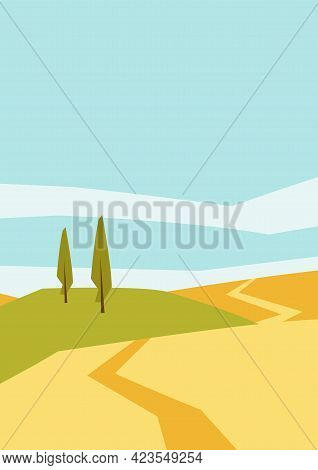 Autumn Landscape With Trees And Hills. Seasonal Background.