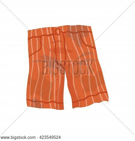 Dirty Clothes. Grease Stained Shorts. Laundry Mud Stains On Garments. Unclean Shorts. Symbol Of Mess