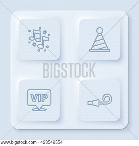 Set Line Music Note, Tone, Party Hat, Location Vip And Birthday Party Horn. White Square Button. Vec