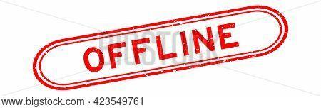 Grunge Red Offline Word Rubber Seal Stamp On White Background