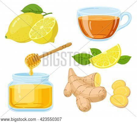 Natural Cough Remedies. Honey, Vitamin C Lemon, Hot Tea And Chopped Ginger Root Cartoon Vector Illus