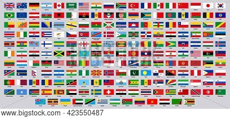 National Flags. World Countries Flag Emblems, Europe, Asia, South And North America National Symbols