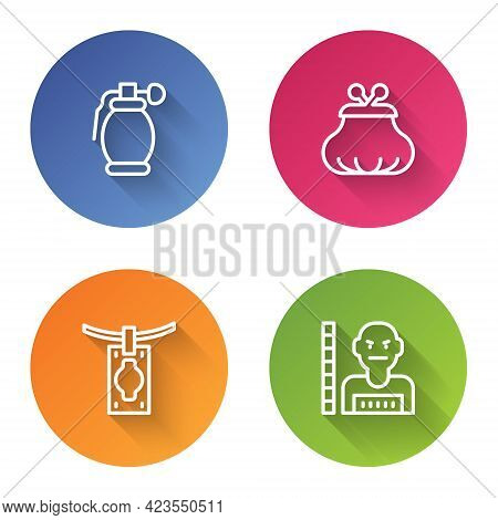 Set Line Hand Grenade, Wallet, Money Laundering And Suspect Criminal. Color Circle Button. Vector