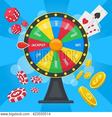Fortune Wheel Concept. Casino Lucky Wheel Game, Gambling Fortune Wheel With Dice, Cards, And Chips V