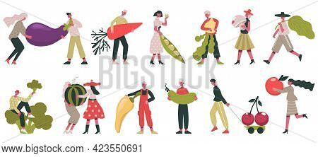 Vegetarian Characters. People Carrying Raw Ingredients, Vegetable And Fruits, Organic Healthy Food V