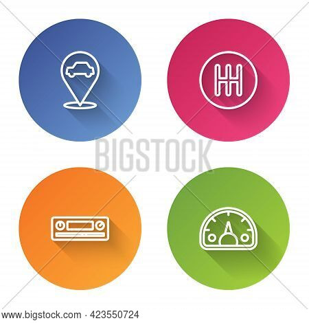 Set Line Location With Car Service, Gear Shifter, Car Audio And Speedometer. Color Circle Button. Ve