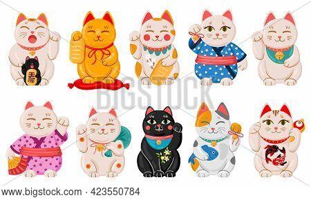Japanese Maneki Neko Cats. Cartoon Lucky Japan Traditional Cat Toys, Kawaii Oriental Fortune Symbol