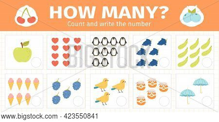 Counting Math Kids Game. Mathematical Numbers Counting Game For Kids, Children Math Game Worksheets