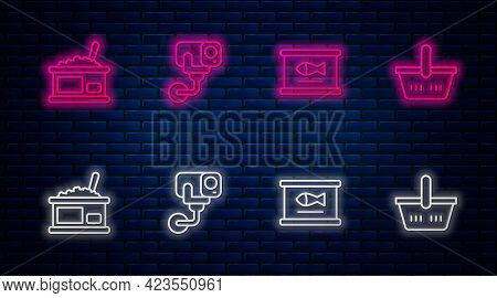 Set Line Security Camera, Canned Fish, Tin Can With Caviar And Shopping Basket. Glowing Neon Icon On