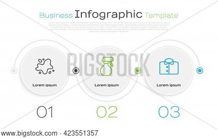 Set Line Water Spill, Spray Bottle And T-shirt. Business Infographic Template. Vector