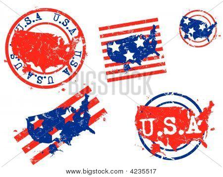 Usa Rubber Stamp Map Set