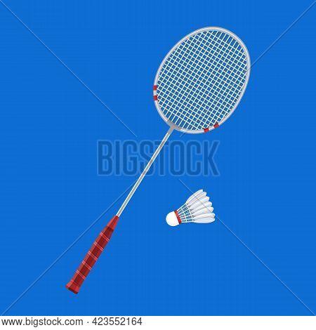 Badminton Racket And Shuttlecock. Vector Illusrtation, Flat Style.