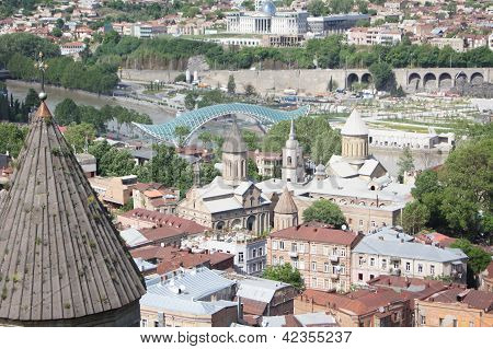 Churches and domes of Tbilisi view to historical part of the capital of Republic of Georgia poster